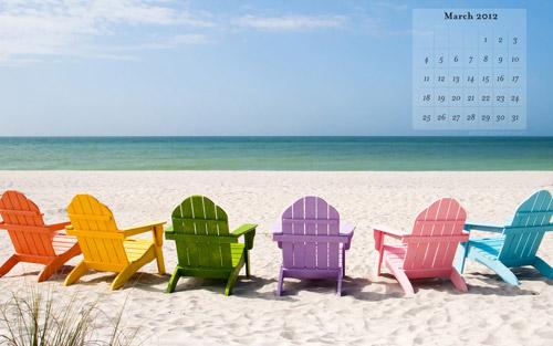 March 2012 calendar wallpapers beach chairs