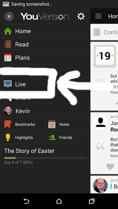 bible app menu