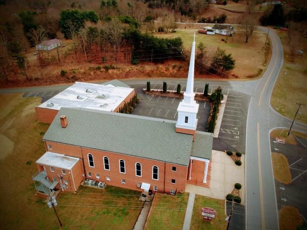 high peak baptist Church areal shot