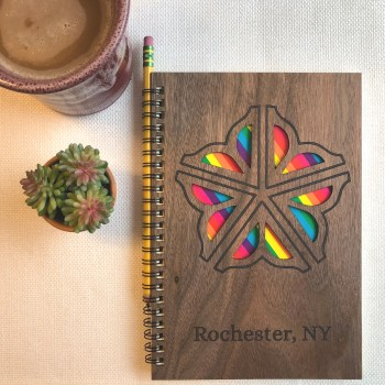 Rainbow Wood Covered Notebook Design