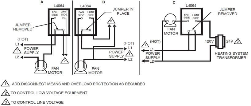 furnace fan limit control wiring
