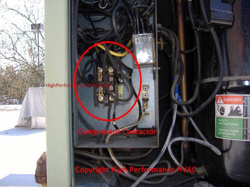 compressor contactors for air conditioners and heat pumps rh highperformancehvac com hvac contactor wiring diagram compressor contactor wiring