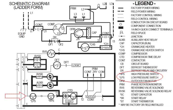 air compressor capacitor wiring diagram 6 pin window switch refrigeration pressure switches hvac ac and heat pumps