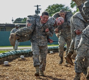 U.S. Army Soldiers conduct combatives training during the Ranger Course on Fort Benning, Ga., April 20, 2015. Soldiers attend Ranger school to learn additional leadership and small unit technical and tactical skills in a physically and mentally demanding, combat simulated environment. (U.S. Army photo by Spc. Dacotah Lane/Released Pending Review)