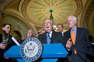 Senate Majority Leader Mitch McConnell, R-Ky., center, is joined by, from right to left, Majority Whip John Cornyn, R-Texas, Sen. John Thune, R-S.D., Sen. John Barrasso, R-Wyo., and Sen. Roger Wicker, R-Miss., as he speaks with reporters following a closed-door policy meeting on Capitol Hill in Washington, Tuesday, Feb. 23, 2016. The Senate will take no action on anyone President Barack Obama nominates to fill the Supreme Court vacancy, Senator McConnell said as nearly all Republicans rallied behind his calls to leave the seat vacant for the next president to fill. His announcement came after Republicans on the Senate Judiciary Committee ruled out any hearing for an Obama pick. (AP Photo/J. Scott Applewhite)