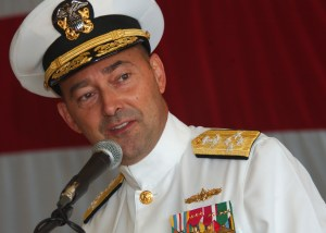 080712-N-3285B-007 MAYPORT, Fla. (July 12, 2008) Adm. James Stavridis, commander, U.S. Southern Command, speaks at the 4th Fleet reestablishment ceremony held on board Naval Station Mayport. Fourth Fleet is the reassigned numbered fleet assigned to NAVSO, exercising operational control of assigned forces. Fourth Fleet conducts the full spectrum of Maritime Security Operations in support of U.S. objectives and security cooperation activities that promote coalition building and deter aggression in the maritime environment.  U.S. Navy photo Navy photo by Mass Communication Specialist 2nd Class Regina L. Brown (Released)