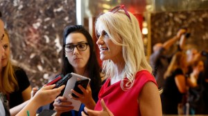 Kellyanne Conway, new campaign manager for Republican presidential candidate Donald Trump, speaks to reporters in the lobby of Trump Tower in New York, Wednesday, Aug. 17, 2016. (AP Photo/Gerald Herbert)