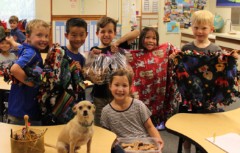 Zeus visits with Cassidy Itamura (front), James Bonaccorso, Lucas Yin, Max Singer, Maddie Feng, Theo Trakul.