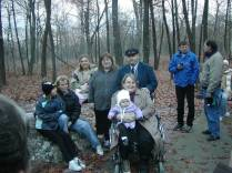 Jack Longacre's Family on Taum Sauk [Left to right: Chelsea Krontz (Jack's granddaughter); Lorrie Krontz (Jack's daughter); Second Row: Mandy Miller (Lorrie's daughter); Barb Hendricks (Jack's niece); Dave Hendricks (Jack's half brother); Donna Hendricks (Dave's wife); Haley Miller (Mandy's daughter and Jack's great-grandchild) Non-family members talking on the right are 50-completers Dennis Stewart and Travis Canon]