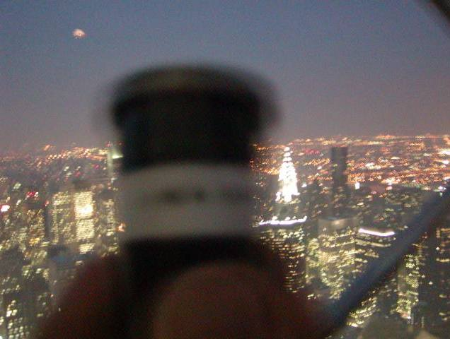 Is that Mars from the Empire State Building on the day (Aug. 27, 2003) that it was closest to earth in 60,000 years? Or was it just a blimp as haze obscured the sky.