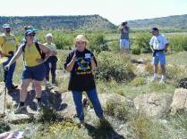 Marcia Griggs Leads Tour of Robbers Roost During Black Mesa 2002 Highpointers Convention