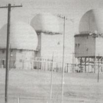Closeup of radar facility on highpoint: The heart of the 664th AC&W Squadron are (Left to Right) the Army/Navy Fixed Point Station radar sets ANFPS-6 which determines altitude, ANFPS-27 (search) and ANFPS-26 (altitude).