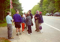 """Open access date for Memorial Day, 5-28-00: visitors talking """"at the trail head"""""""