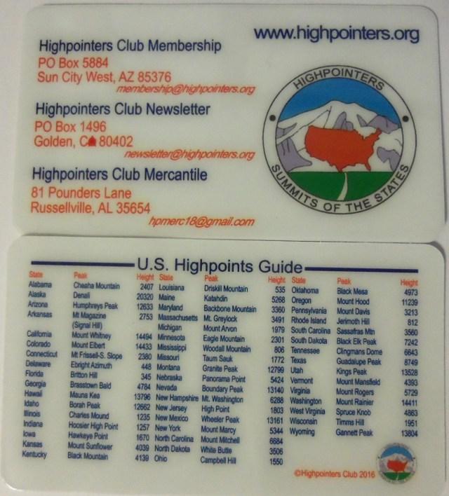 Highpointers Club Card