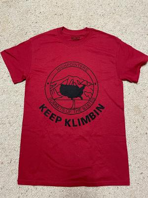 T-Shirt – Red with Highpointer Logo and Keep Klimbin on Front