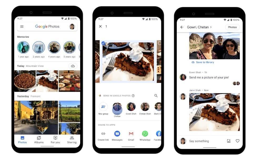 Google Fotos activa un chat para compartir fotografías