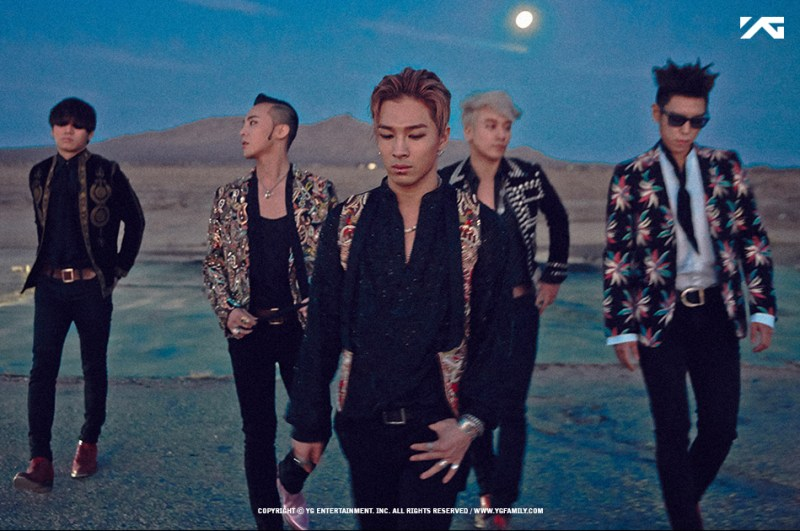 Daesung, G-Dragon, Taeyang, Seungri and T.O.P make Big Bang. Photo from ygfamily.com