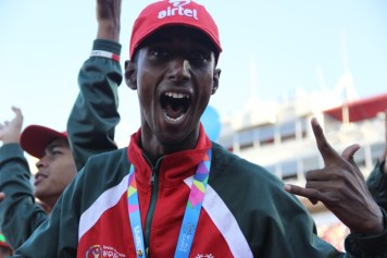 A team Bangladesh athlete gets hyped for the commencement of the 2015 Special Olympics World Games in Los Angeles on Saturday.