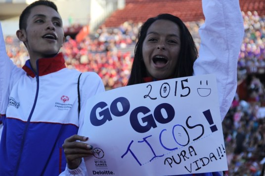 Costa Rican teammates represent their home country with a sign of support during the Special Olympics World Games Opening Ceremony on Saturday.