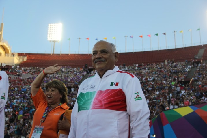A coach from the Mexican Special Olympics team surveys the stands with tears in his eyes and joy in his heart during the Special Olympics World Games Opening Ceremony on Saturday.