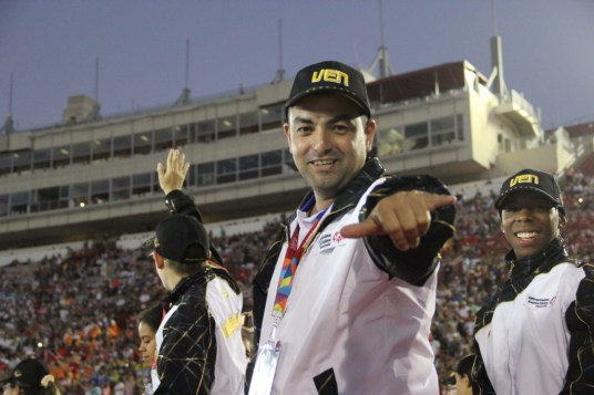 Team Venezuela embraces Southern California by throwing up the shaka during the Special Olympics World Games Opening Ceremony on Saturday.
