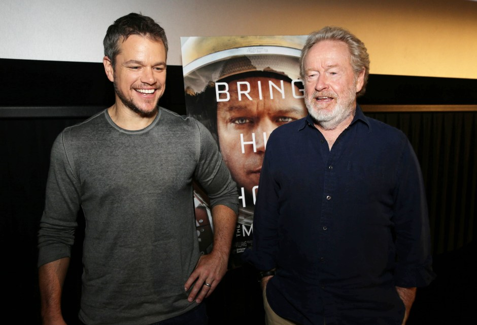 Matt Damon and Director Ridley Scott at the Twentieth Century Fox 'The Martian' Trailer Launch Event. (Photo by Eric Charbonneau/Invision for Twentieth Century Fox/AP Images)