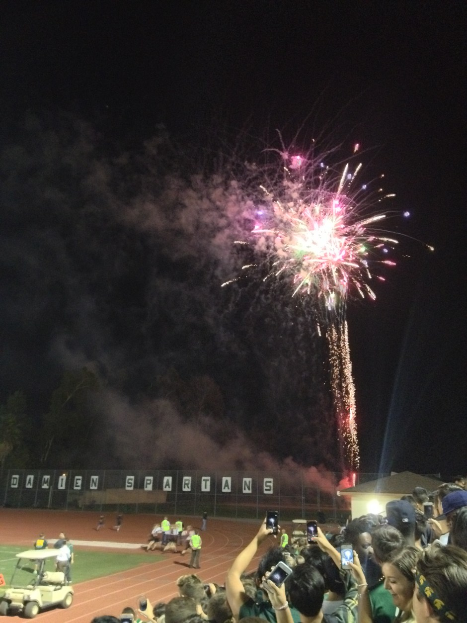 Fireworks display at the Damien homecoming game. Photo by Abigail Felix.