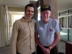 Flavin visited grandson Michael Dobyns at Corona del Mar high school and spoke to his junior history class.