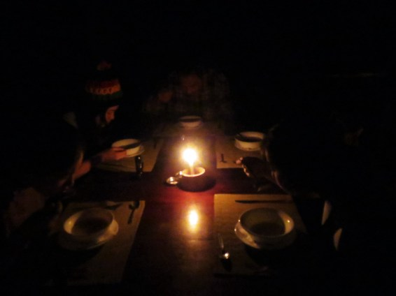 We had a candlelit dinner because of the lack of electricity.