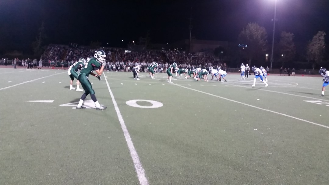 Jake San Miguel awaits at the line of scrimmage.