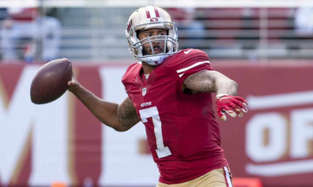 Oct 18, 2015; Santa Clara, CA, USA; San Francisco 49ers quarterback Colin Kaepernick (7) throws a pass against the Baltimore Ravens during the second quarter at Levi's Stadium. Mandatory Credit: Ed Szczepanski-USA TODAY Sports