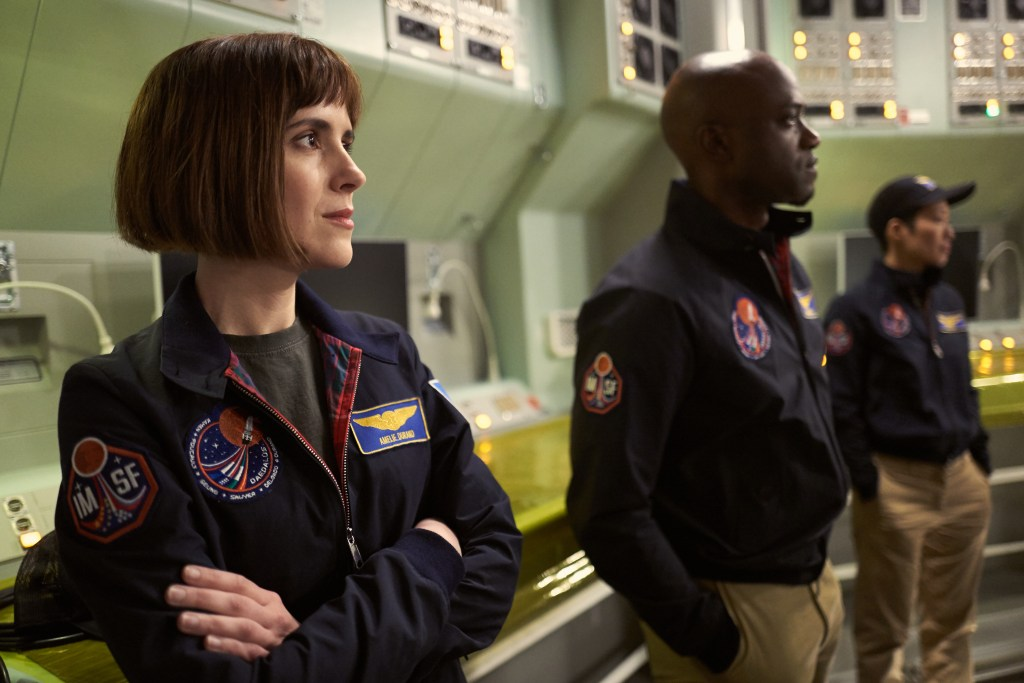 (From left): Clementine Poidatz as Amelie Durand the French mission physician and biochemist, Sammi Rotibi as Robert Foucault a Nigerian mechanical engineer and roboticist and Jihae Hana Seung the Korean-American mission pilot and software engineer on the Daedalus. (photo credit: National Geographic Channels/Robert Viglasky)