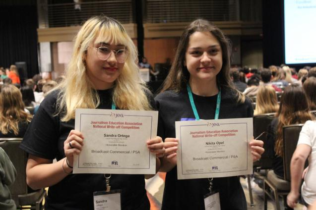 Seniors Sandra Ortega and Nikita Opel achieved an Honorary Mention in the Broadcast: PSA category in at the National Write-Offs. Photo by Rachel Bullock