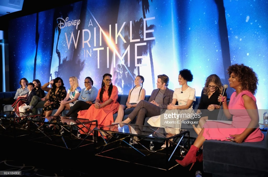 """Oprah Winfrey, Ava DuVernay, Jennifer Lee and Mindy Kaling at the """"A Wrinkle in Time"""" Press Conference"""