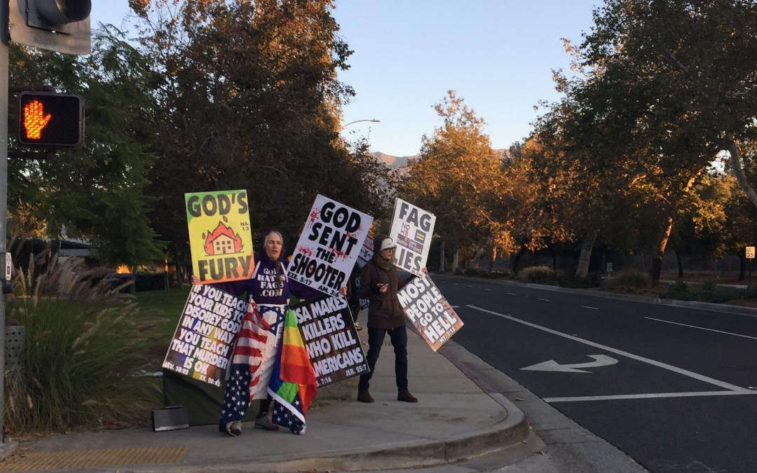 Anti-LGBTQ hate group protest at Claremont High School