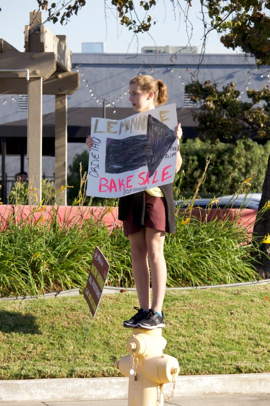 A student volunteer stands on a street corner near the lemonade stand to direct drivers to it. (Photo courtesy ofCaelyn Pender)
