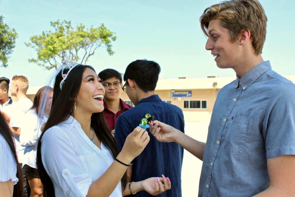 Students 'tie the knot' during annual wedding ceremony in Virtual Enterprise class
