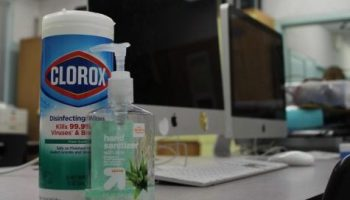 Clorox wipes and hand sanitizer was available for student use in journalism/English teacher Adriana Chavira's room on March 13. Many teachers had sanitizing products in their classrooms as a way to keep students safe.