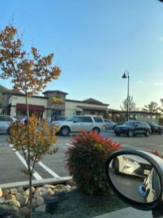 Typically empty: Some fast food drive-thru establishments see a surge of customers, amidst restaurant and inside dining closures. This In-N-Out Burger drive-thru line wraps around the parking lot, while inside dining is shut to the public. (Photo by Sophie Robson)
