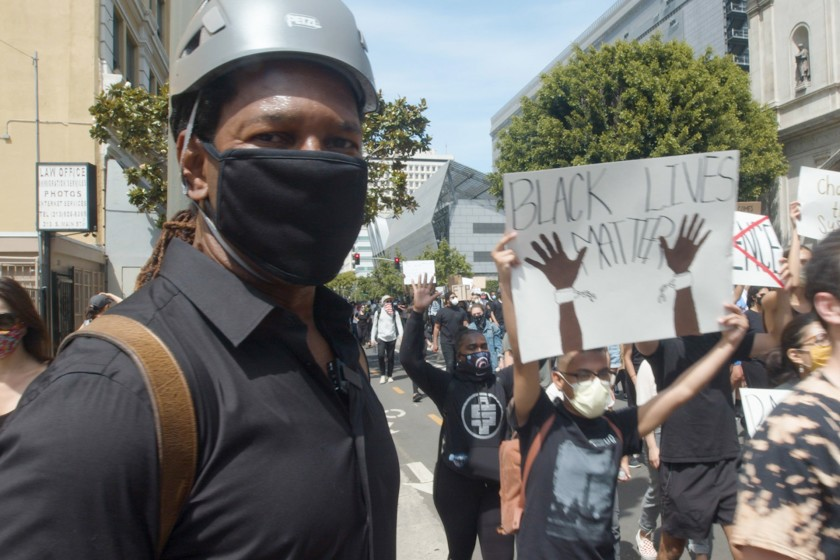 L.A. Times columnist LZ Granderson speaks with protesters in downtown Los Angeles and finds goodwill and solidarity.