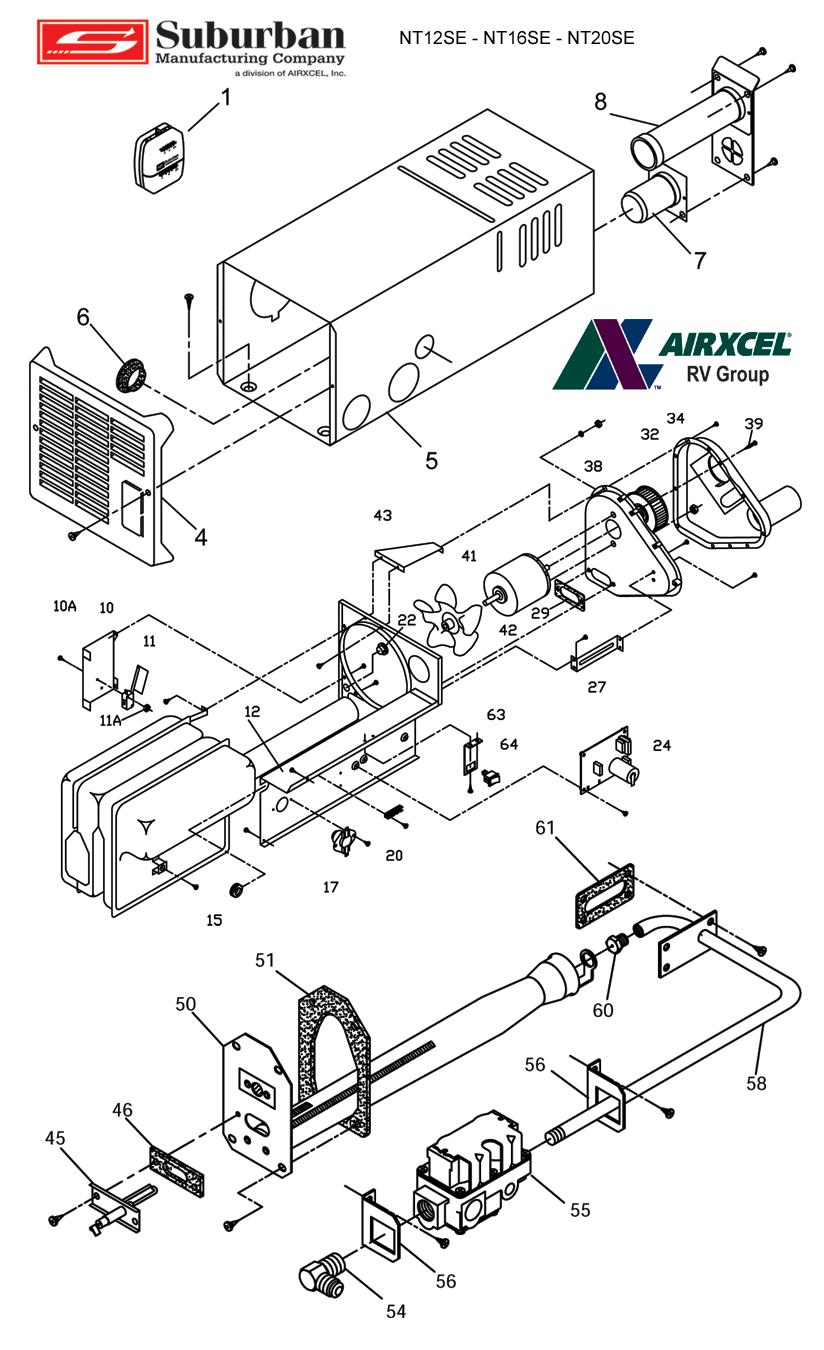 Suburban Rv Water Heater Parts Diagram : suburban, water, heater, parts, diagram, Suburban, Furnace, NT-16SE, Service, Parts