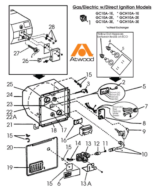 Atwood Water Heater Parts Diagram : atwood, water, heater, parts, diagram, Dometic, Atwood, GC10A-3E, Parts