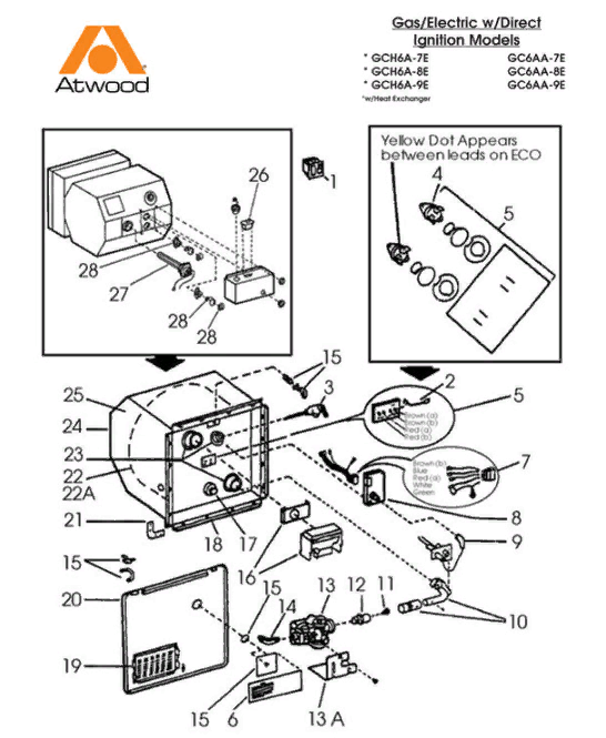 Atwood Water Heater Parts Diagram : atwood, water, heater, parts, diagram, Dometic, Atwood, GC6AA-9E, Parts