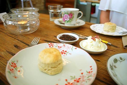 Homemade scone with jam and cream