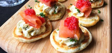 Chive blini with smoked ocean trout