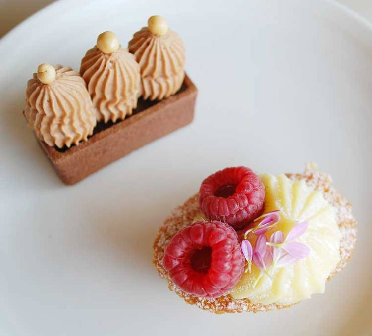 Milk chocolate, sea salt and caramel tartlet and Raspberry and lemon curd friand
