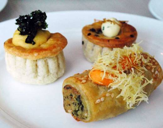 Mini mushroom pies, mini beef pies and cheese and spinach mini rolls