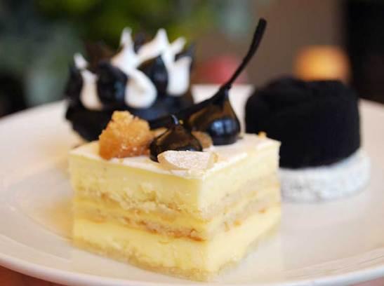 Flourless vanilla opera cake with blackened coffee gel