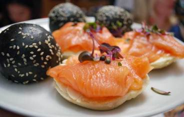 Salmon and cream cheese mini bagel
