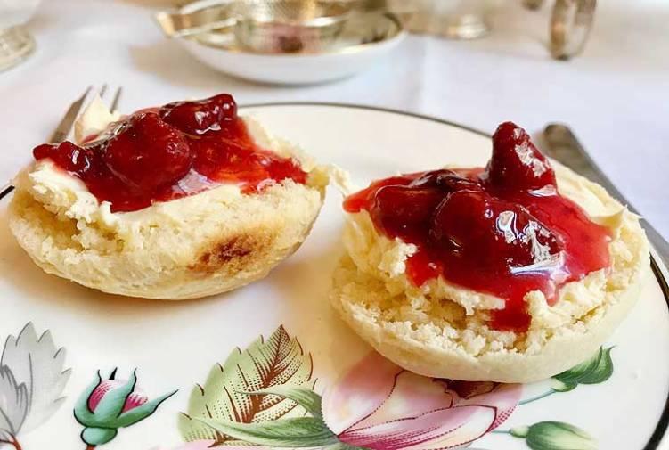 Scones with cream and jam